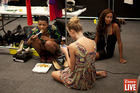 Backstage on the first day of the Mercedes Benz Fashion Week Joburg. March 2013