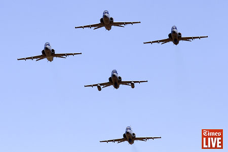 South African Air Force Hawk Fighter planes fly in formation during an air force capability demonstration at the Roodewal Bombing Range in Makhado. The event was to showcase its operational capabilities, readiness and to exercise interoperability with other Arms-of-Service of the South African National Defence Force. May 2013